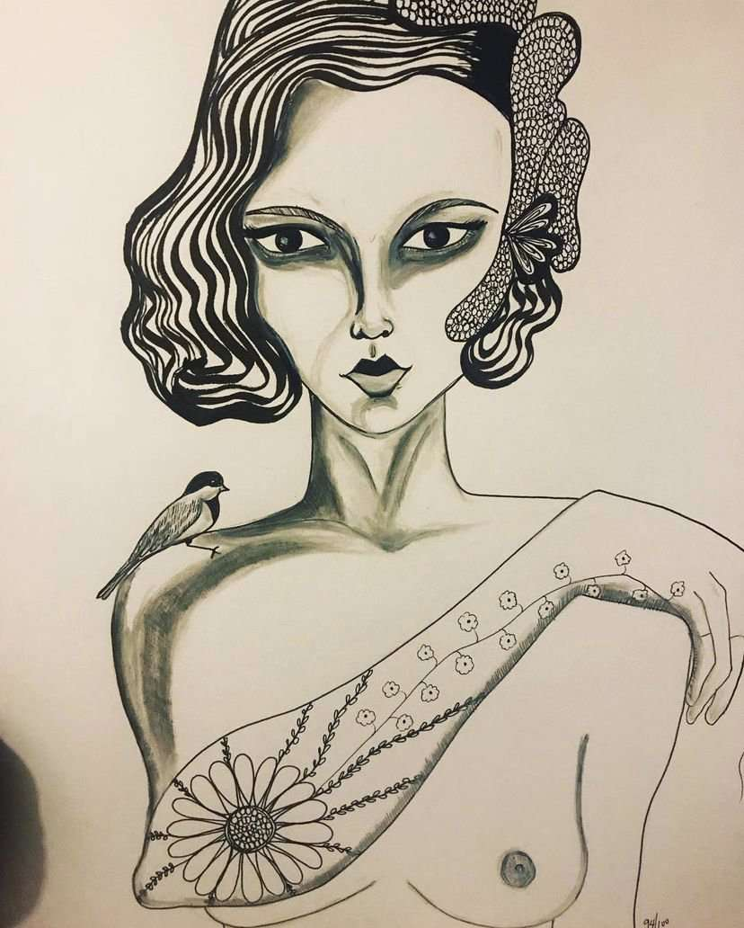 ink drawing of a woman with a bird on her shoulder